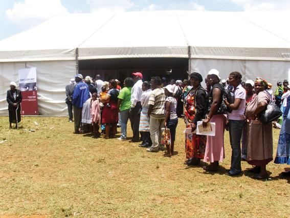 World AIDS Day (2010) in Driefontein in the North West Province. With well over 5,000 people in attendance, community members were able to apply for identity documents, birth certificates, social grants and get tested for HIV