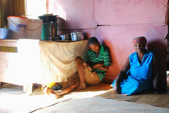 Pelu Hlatswayo and her mentally challenged grandson, S'busiso. Pelu's pension barely keeps the family going, but bureaucracy and administrative hurdles means she can't access a grant for her grandson.