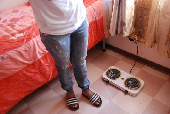 With no canteen or kitchen facilities, nursing students use cooking plates, even though they know they are a fire risk.