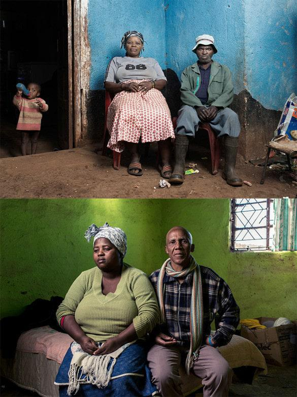 Above: Zimotshile Bethwayo (57) from Mpoza in the Eastern Cape worked in mines for 28 years. He has TB and suspected silicosis and has received no compensation to date. Below: Vusumzi Yaka and Primrose Yaka from Qora Location, Butterworth, Eastern Cape. (Image: Thom Pierce)