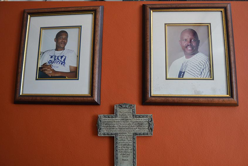 Reverend Xapile (above), says the TAC still needs to tap into rural communities to educate them about HIV/AIDS. Photographs of Reverend Spiwo Xapile hanging in his office at JG Zwane.