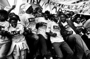 Activists march for treatment at the International AIDS conference in Durban, 2000. Image: Gideon Mendel, courtesy of the photographer.