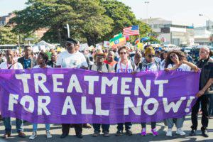 Close to 10 000 people led by the Treatment Action Campaign marched to the Durban Convention Centre