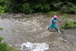 A distance of 15km to the nearest clinic looks much different in rural areas such as Xhora Mouth than in urban areas. When the Xhora River is in flood, villagers cannot cross to get to a clinic. PHOTO: Black Star/Spotlight
