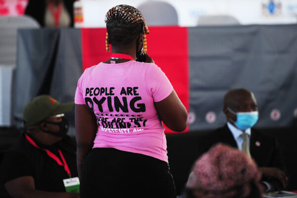 A TAC activist address the attendees at the World AIDS Day event last year. PHOTO: Denvor De Wee/Spotlight