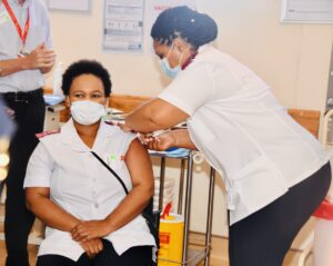 Nurse Zoliswa Gidi-Dyosi was the first healthcare worker in South Africa to receive the vaccine. PHOTO: GCIS