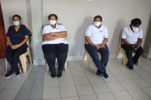 Healthcare workers at Rob Ferreira Hospital in Mpumalanga wait their turn to be vaccinated. PHOTO: Mpumalanga DOH/Facebook