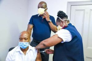 Northern Cape Health MEC Maruping Lekwene gets his jab along with NC Premier Dr Zamani Saul. PHOTO: Northern Cape Health/Facebook