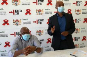 Northern Cape's cuMr Maruping Lekwene, Health MEC (right) and the head of the provincial health department Dr Dion Theys. PHOTO: NC Health/Twitter