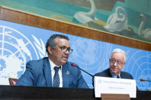 Dr Tedros Adhanom Ghebreyesus, Director-General, World Health Organisation (WHO) speaks at a press conference. PHOTO: UN Photo/Elma Okic