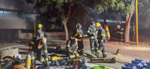 Group of firefighters at work at Charlotte Maxeke Hospital.