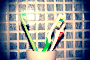 tootbrushes and tooth paste