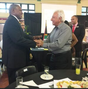 Prof Jerry Coovadia greeting Health Minister Dr Zweli Mkhize.