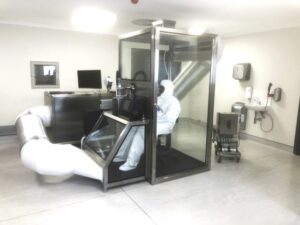 Glass booth for patient sampling.