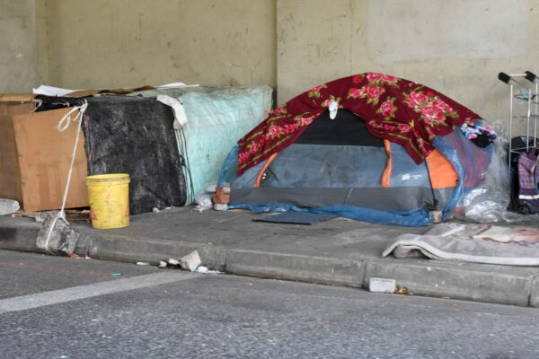 makeshift tents on the pavement under a bridge in Cape Town where people who are homeless live.