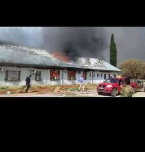 Christiana District Hospital in flames. PHOTO: Supplied