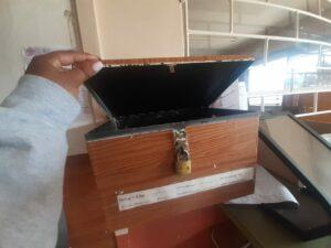 An empty complaints/suggestions box at Namahali Clinic. PHOTO: Ritshidze