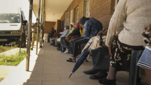 Healthcare users queuing at Namahali Clinic in the Free State. PHOTO: Rian Horn