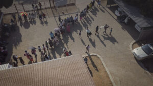 Aerial pic: Long queues a Bultfontein Clinic in the Free State. PHOTO: Rian Horn